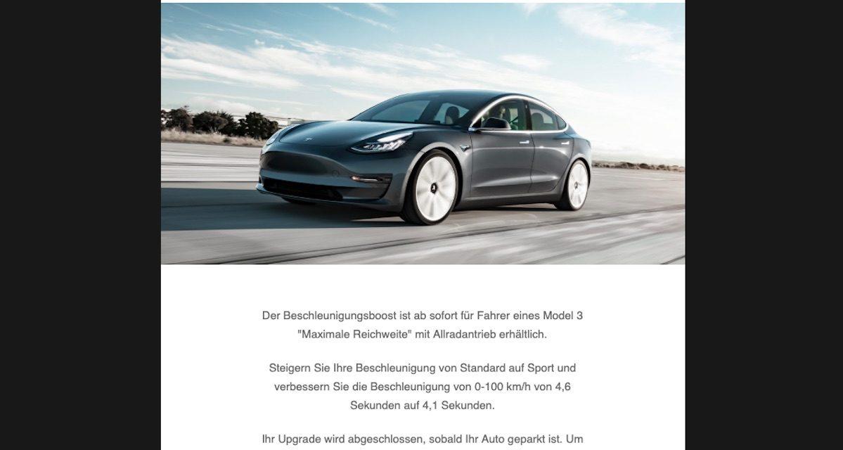 Tesla Performance Update: bessere Beschleunigung kaufen